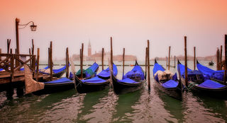 Venice, grand canal, gondolas