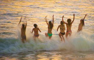 Youth, beach, better tomarow, birthday, glee, joy, kids, splash, waves.