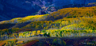 Cabin in the woods, house on top of the cliff, peak colors