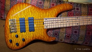 NYC built bass, bass guitar, quilted Maple guitar