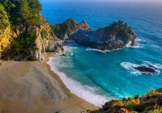 bay, blue, highway !, lagoon, ocean, pacific, surf, waterfall, waterfall on beach, waves
