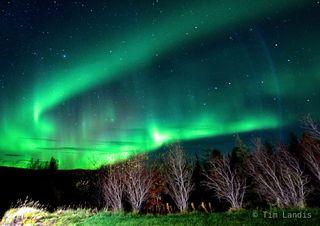 aurora borealis, dancing lights, green glow, green lights