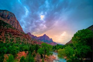 Zion park with clouds