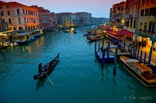 Lone gondola on the grand canal as dusk approaches