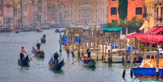Italy, Venice, a foggy morning in venice, gondolas, the Grand Canal, view from a bridge