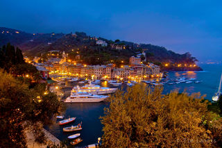 Portofino with storm clouds at dusk,