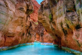 Caves, Colorado River, Grand Canyon NP, Havasupai Creek, River Guides, blue water, camping, caves in the cliffs, cliffs, erosion, mouth, rafts, reflections, slot canyon, turquoise