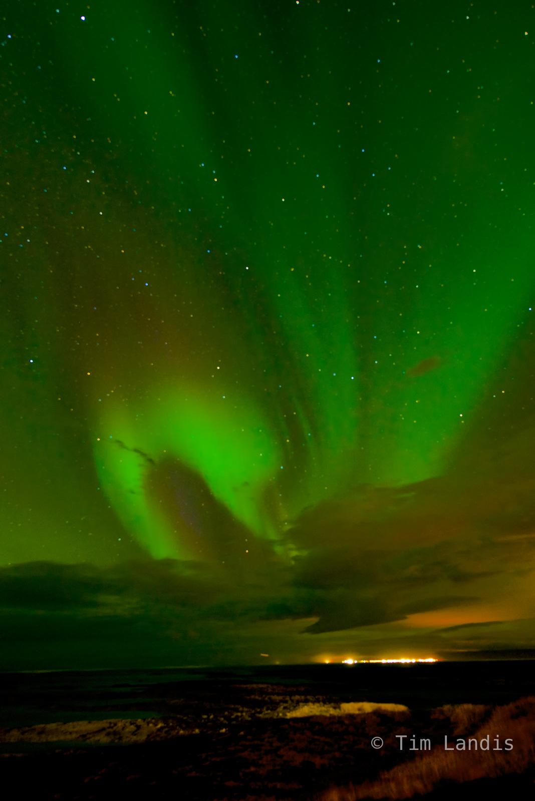 aurora borealis, glow, green, northern lights, photo