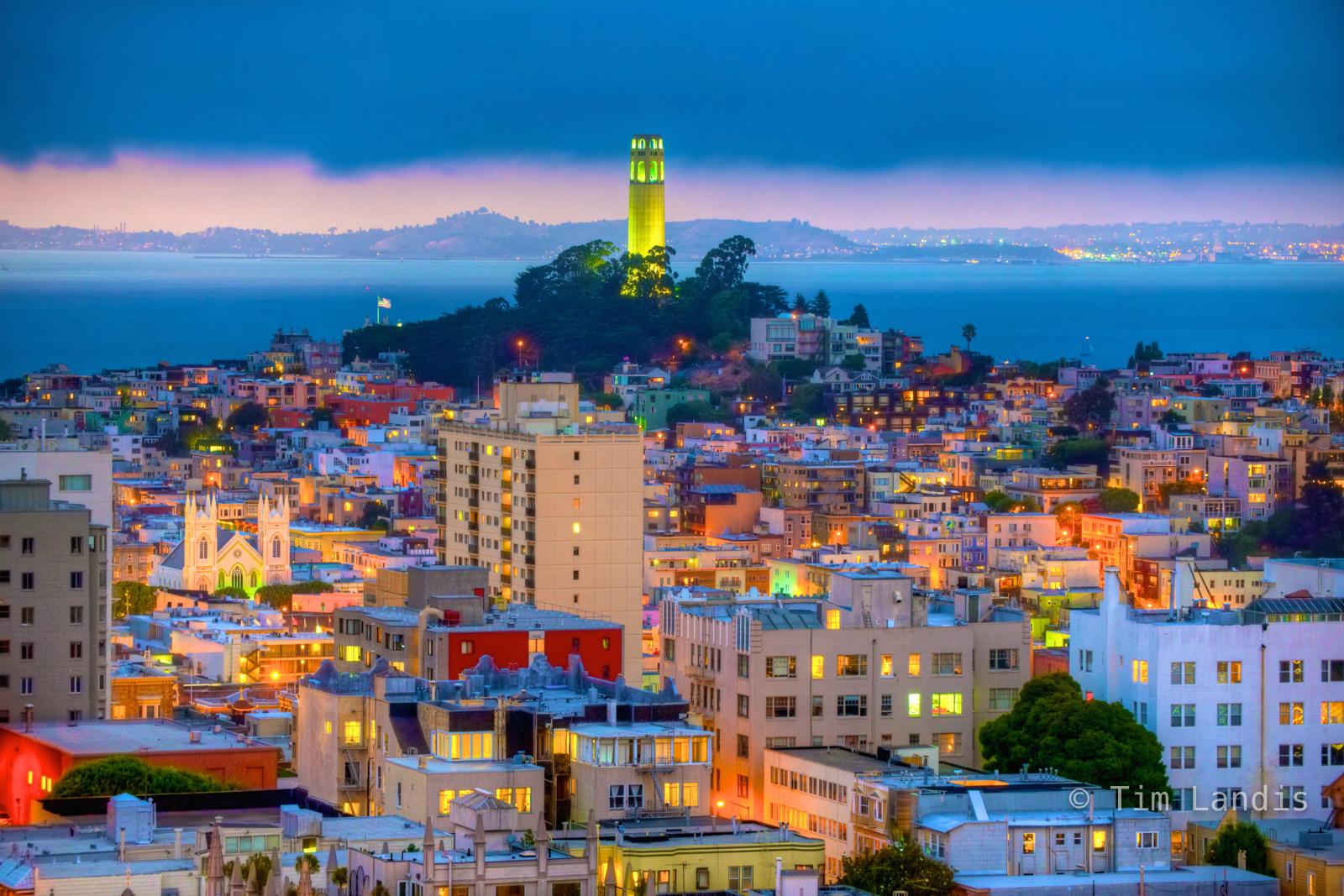 Bay Area, California, Coit Tower, San Francisco, Sunset, Sunset SF style, church, fog, fog over Coit, glow, incoming fog, landmarks, trees, photo