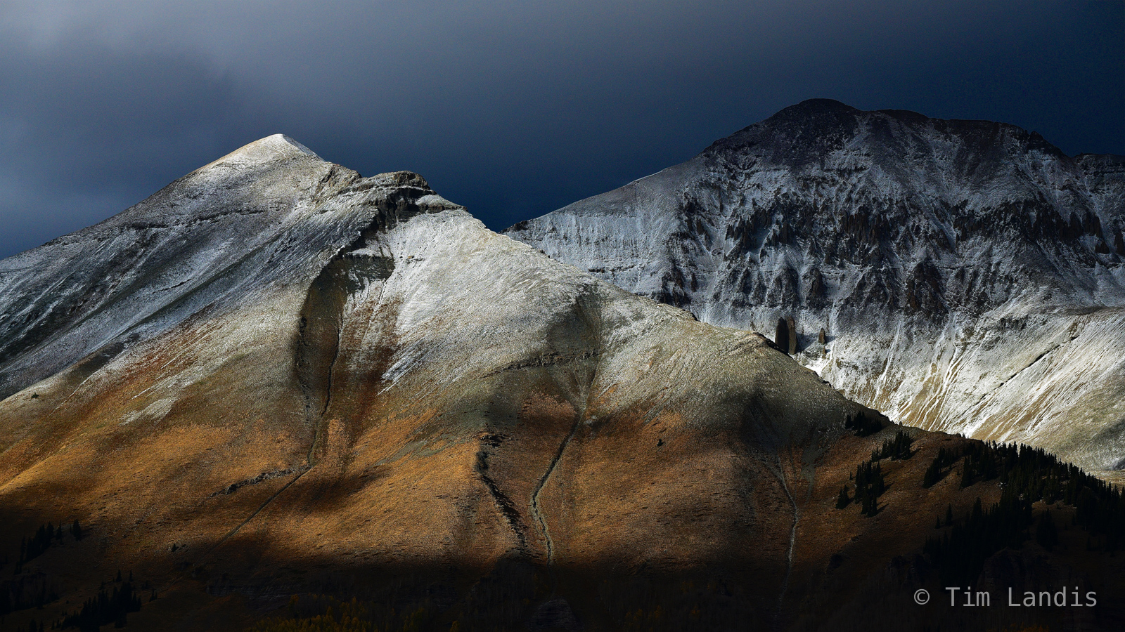Winter approaches, contours, earth tones, snowy peaks, photo