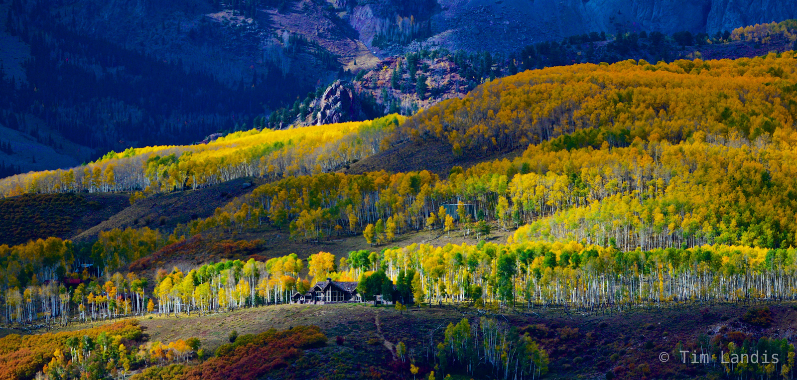 Cabin in the woods, house on top of the cliff, peak colors, photo