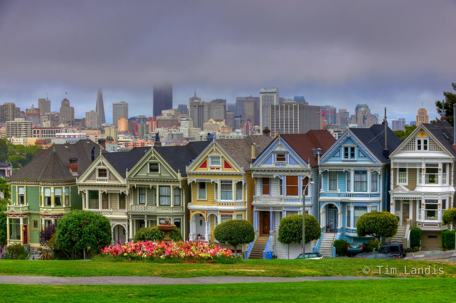 Bay Area, California, Parks, San Franciso, Victorian Houses, fog, photo