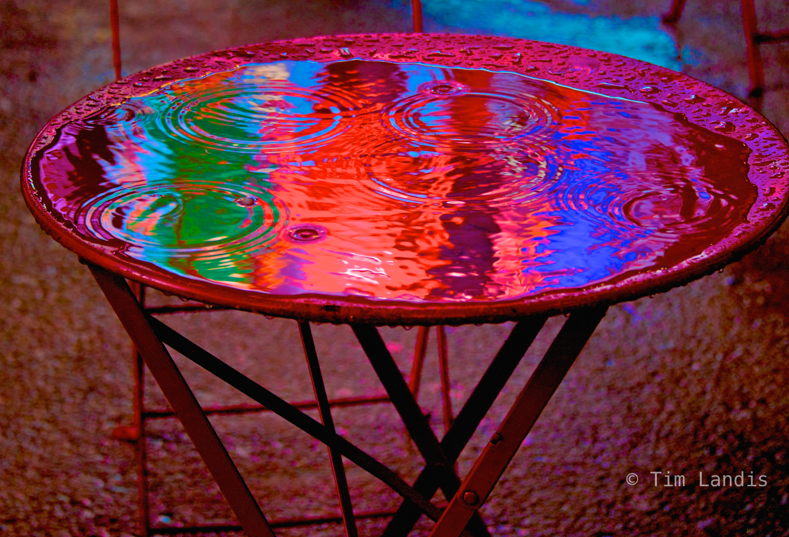 Ny, Pure liquid color, Times Square, distilled color, inter-dimensional table, pool, radiant, reflections, stargate, technicolor table, time portal, photo