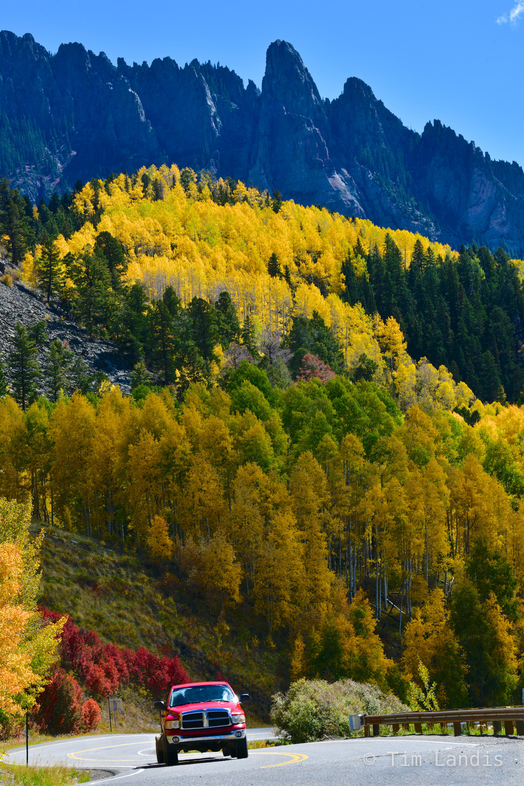 American highways, Red Truck, highways of America, red truck yellow aspens, photo