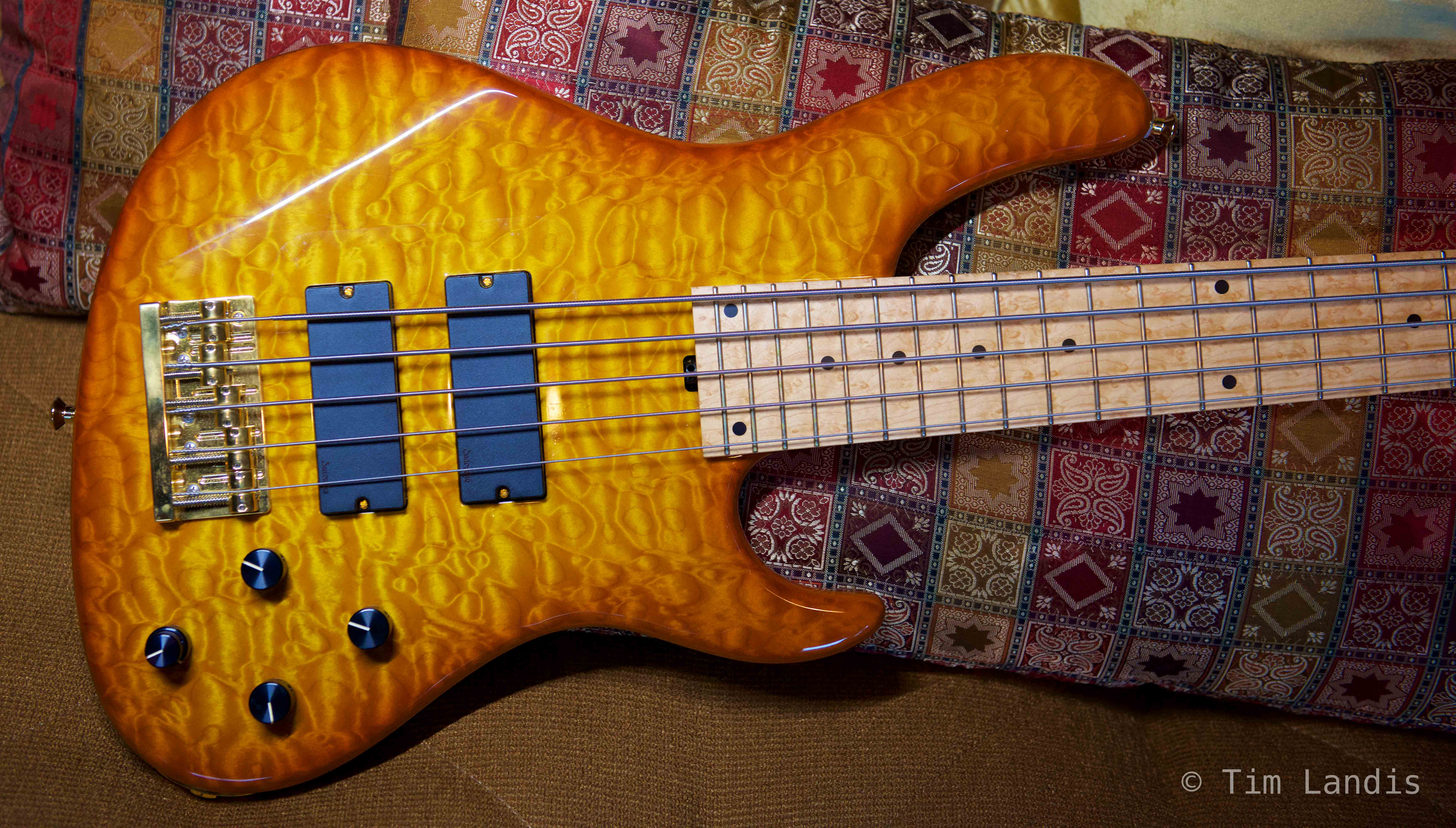 NYC built bass, bass guitar, quilted Maple guitar, photo