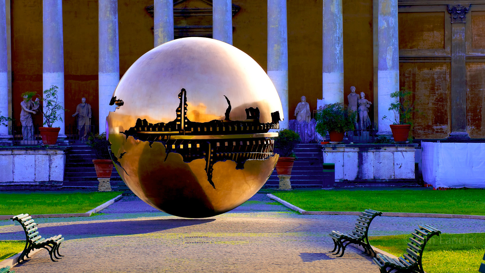 Italy, Rome, UFO, architecture, colums, fracture, gears, orb, park bench, reflections, shadow, statues, photo