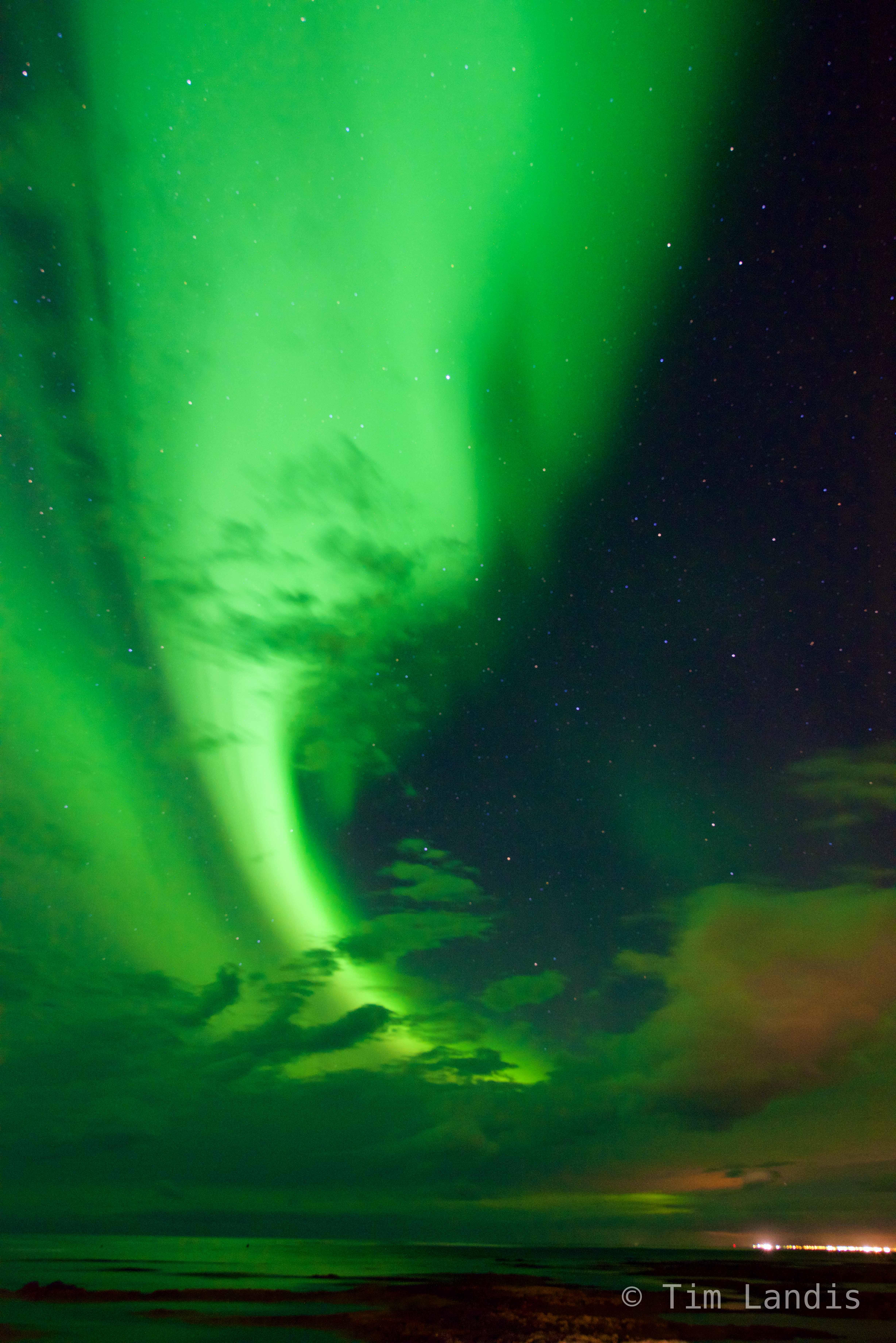 Iceland, aurora borealis, green plasma, photo