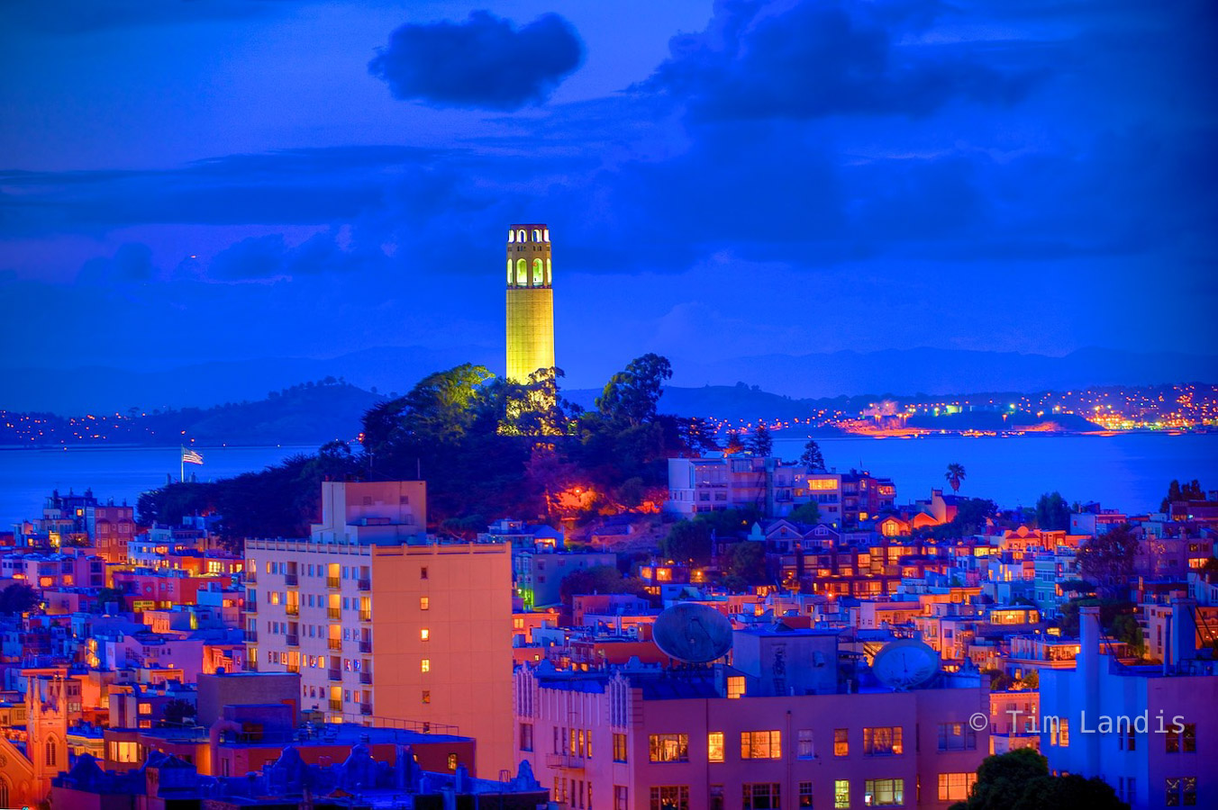 Coit Tower after the sunsets, photo